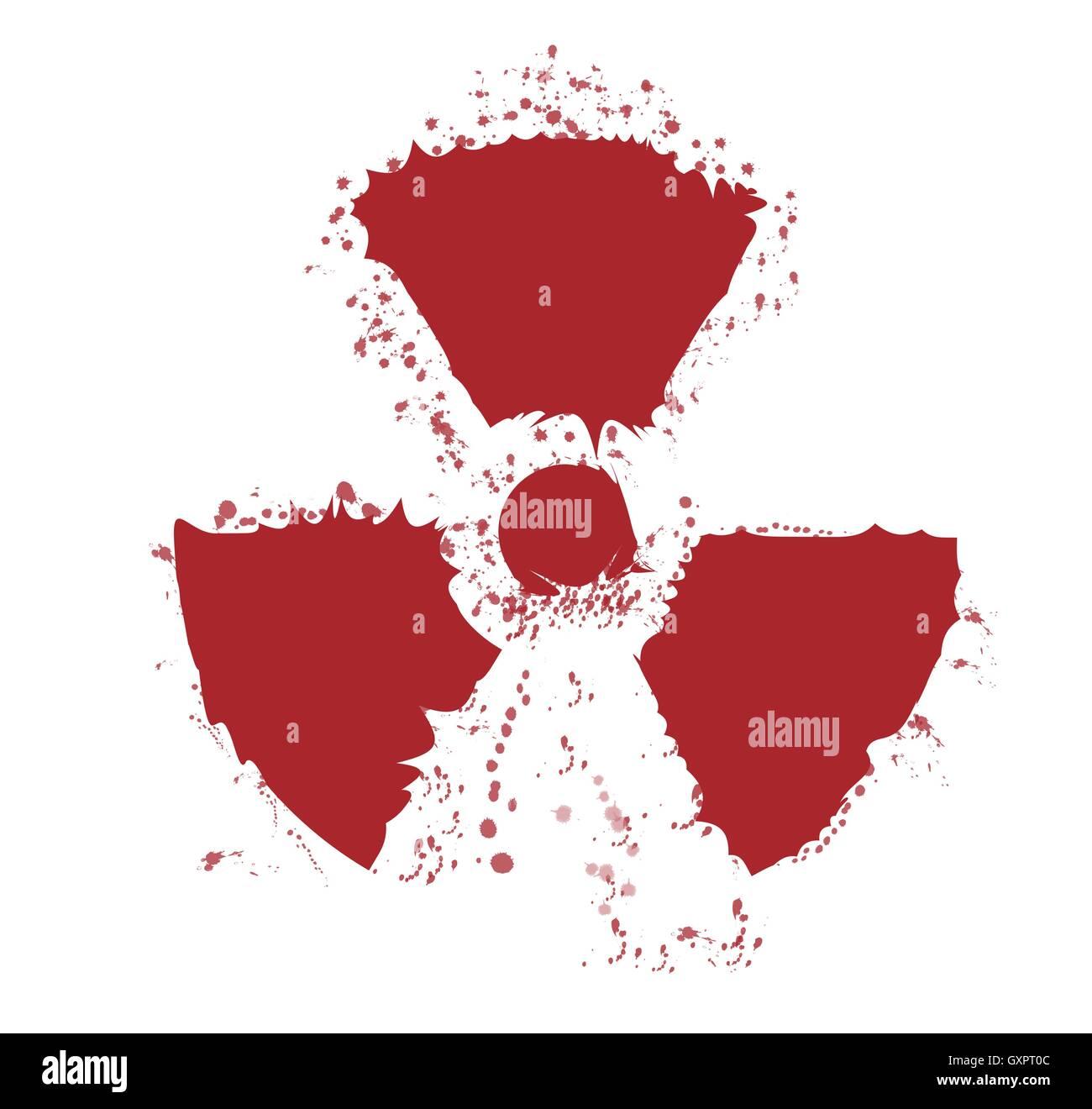 A worn Caution Radiation symbol in splatter red - Stock Vector