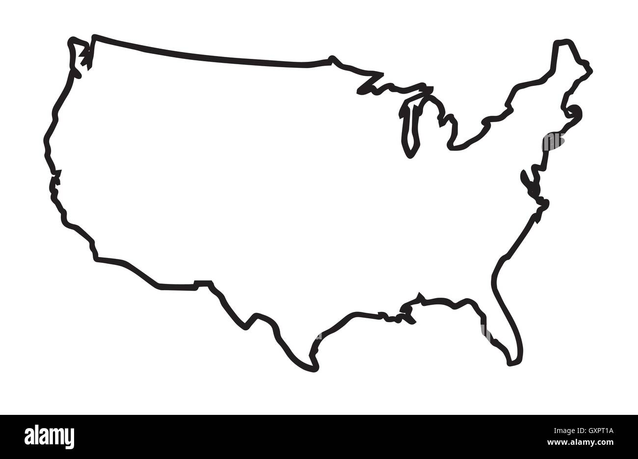 A broader outline map of the United States of America over a white