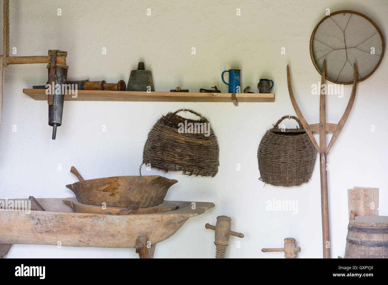 Indoor room at the Szentendre Open Air Museum, Hungary - Stock Image