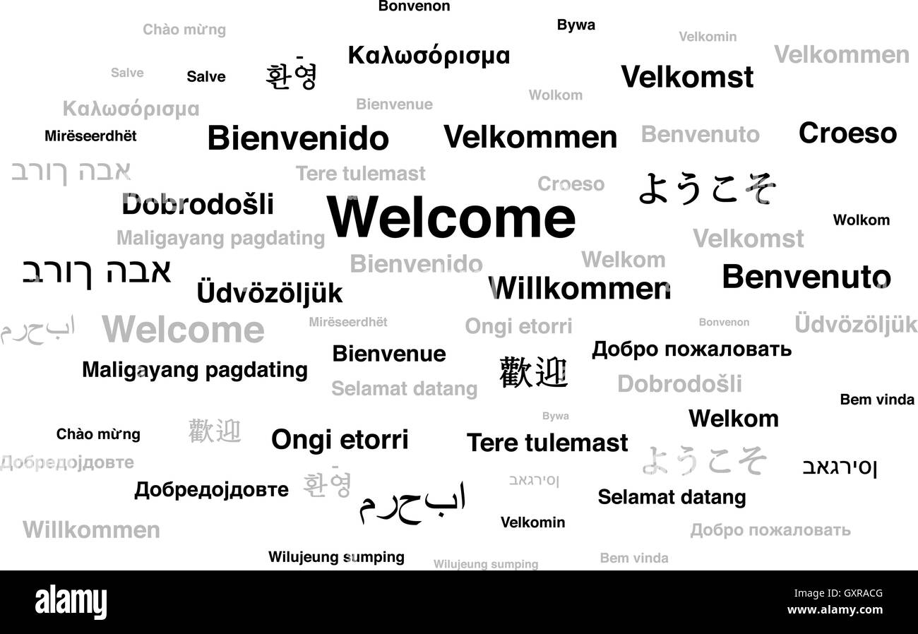 Welcome phrase in different languages of the world - Stock Image