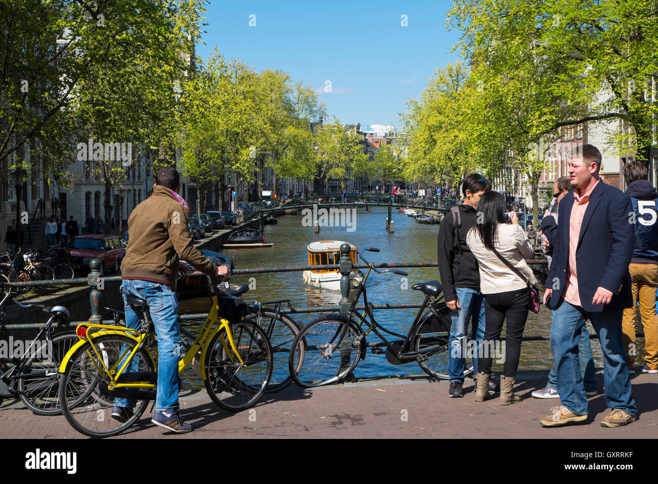 Bicycles and boats on a canal, Amsterdam, Holland, Netherlands Stock Photo