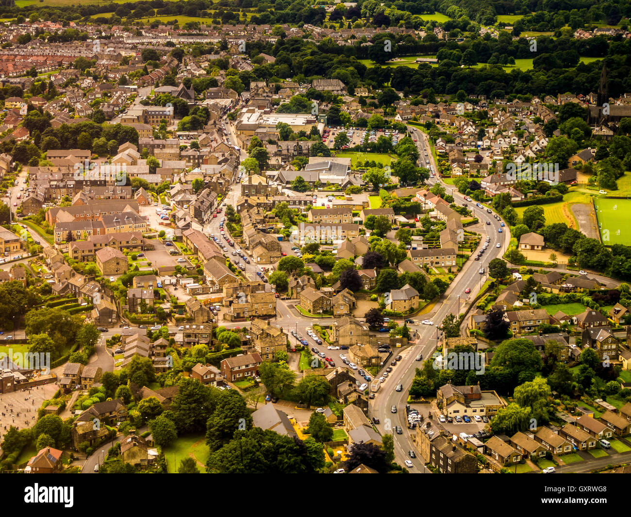 Aerial view of typical suburban area with houses and businesses - Stock Image