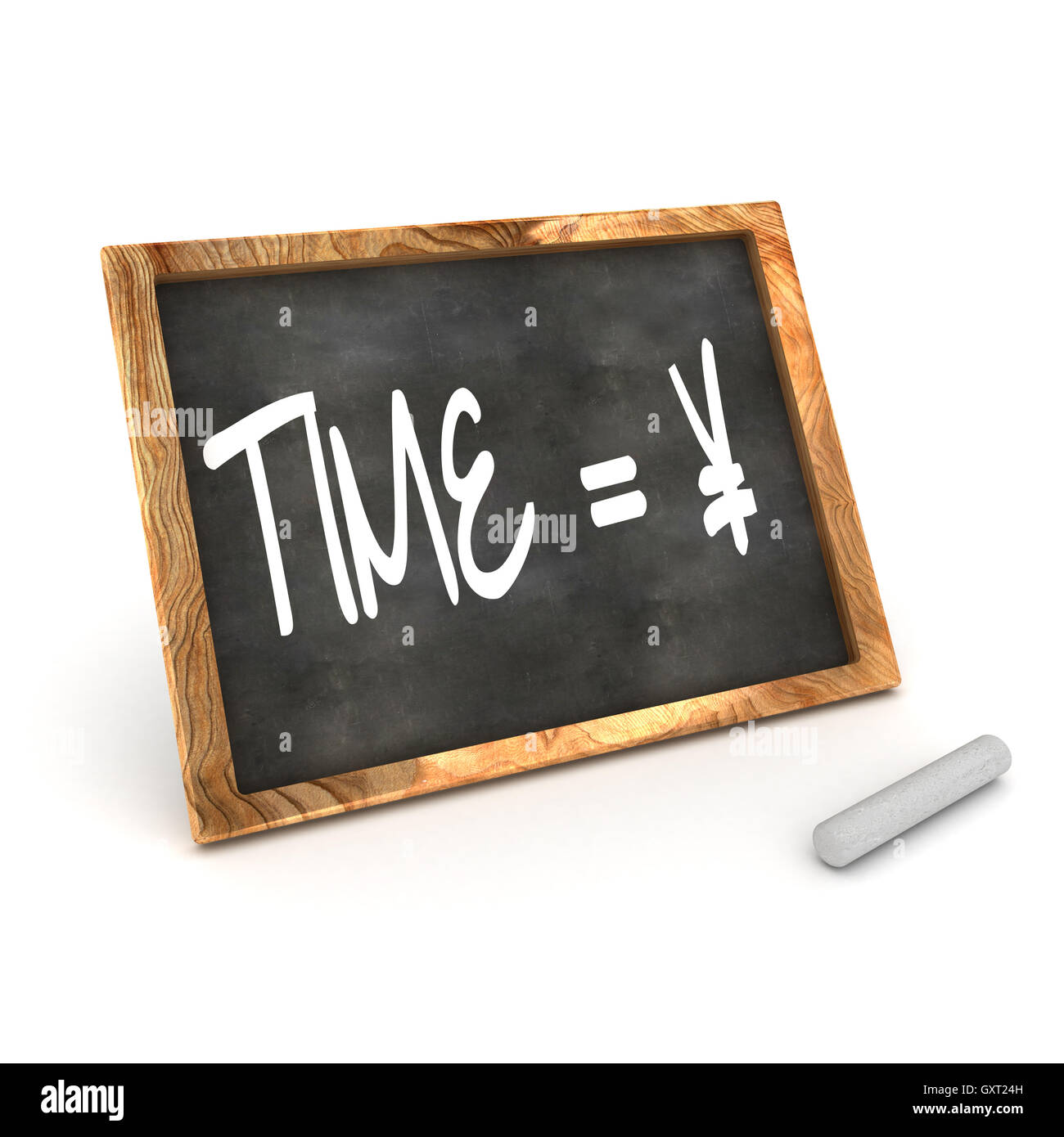 Blackboard Time Equals Money (yen) Stock Photo