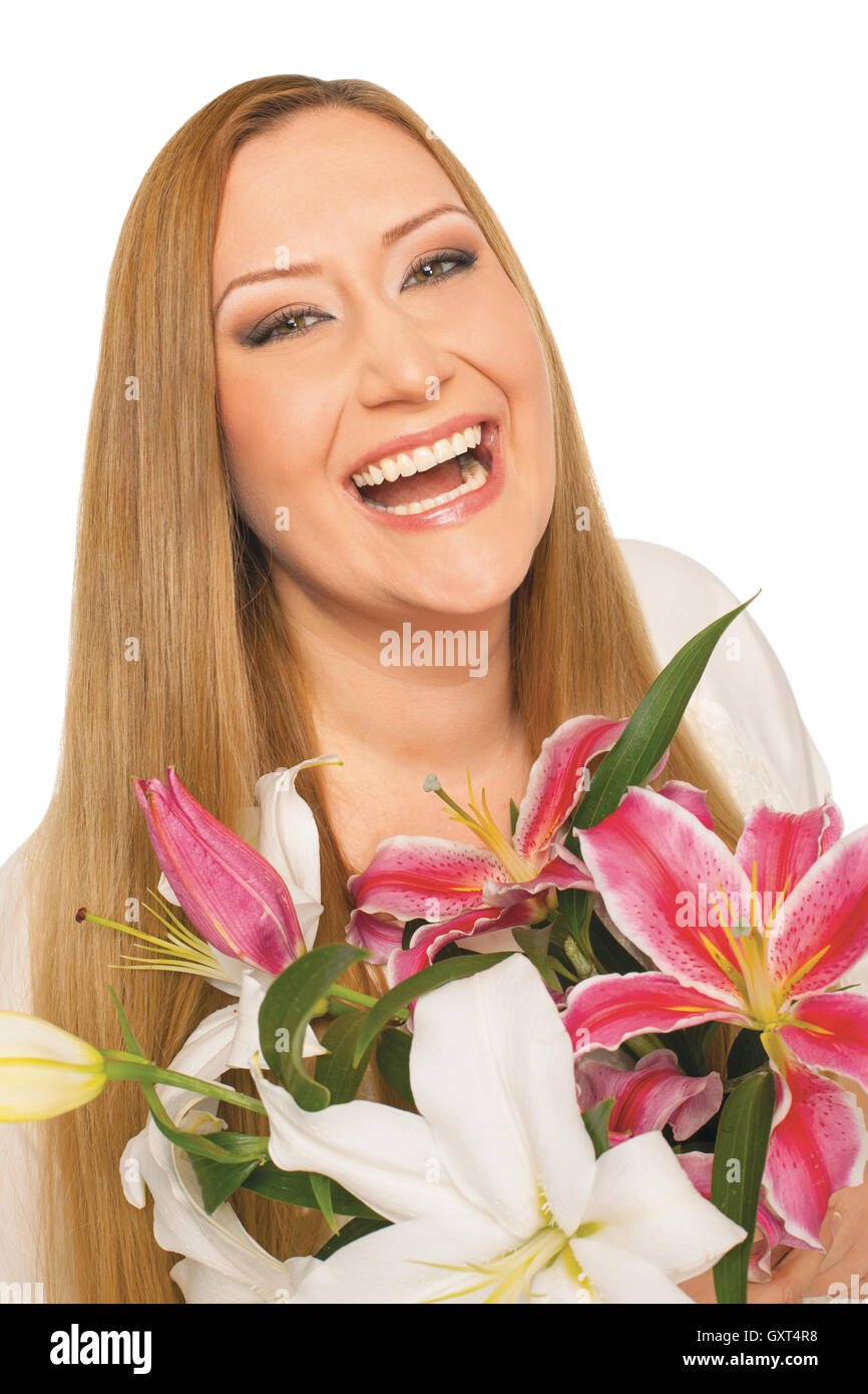 happy flowers woman xxl overweight - Stock Image