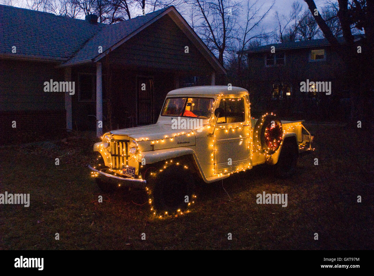 old jeep comanche pickup truck decorated for the holidays stock image - Jeep Christmas Decorations