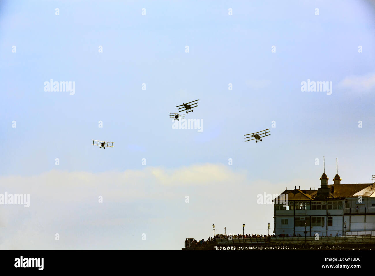 Eastbourne Airbourne 2016 Great War Display Team Triplanes Biplane - Stock Image