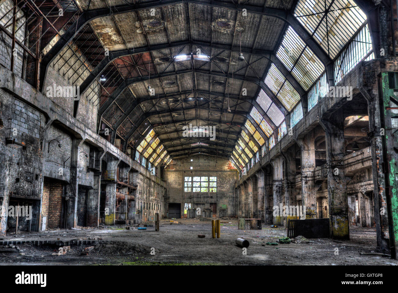 Old factory hall, HDR vivid image - Stock Image