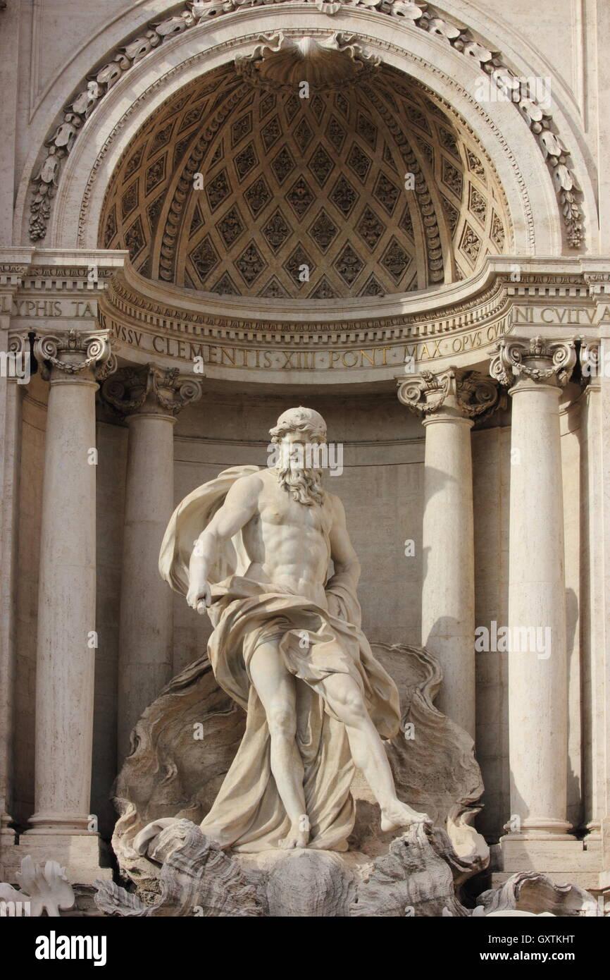 a beautiful statue of the Fontana di Trevi, Fontana di Trevi, detail, Rome, Italy - Stock Image