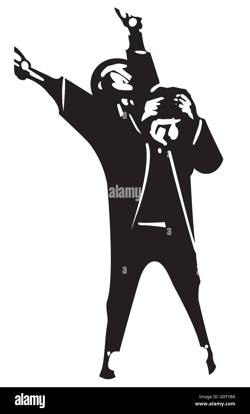 Woodcut style expressionistic image of a man suffering from Manic Depression - Stock Vector