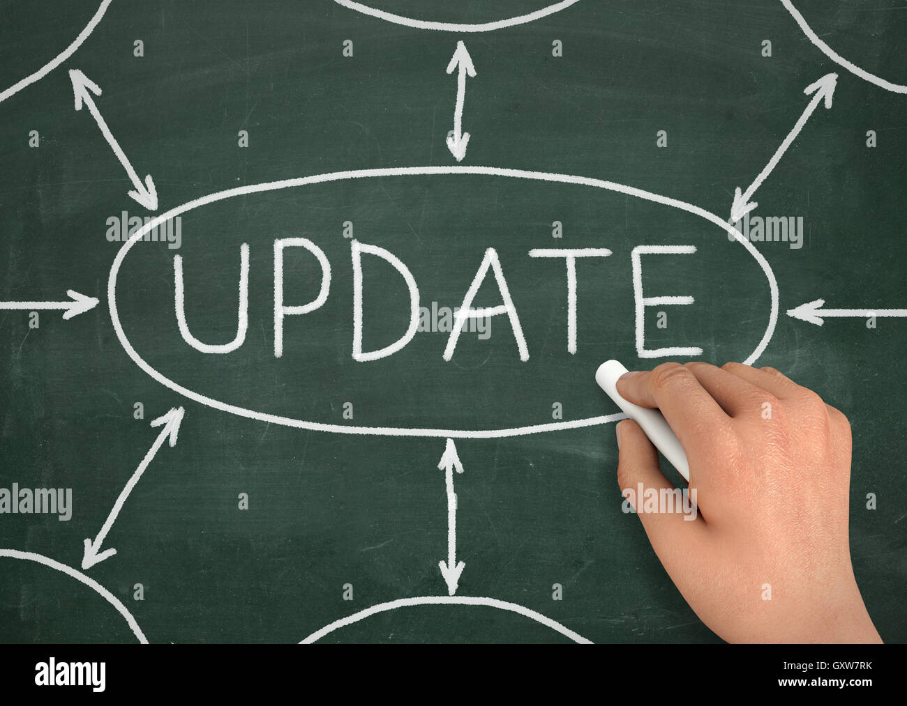 update chalkboard write concept  3d illustration - Stock Image