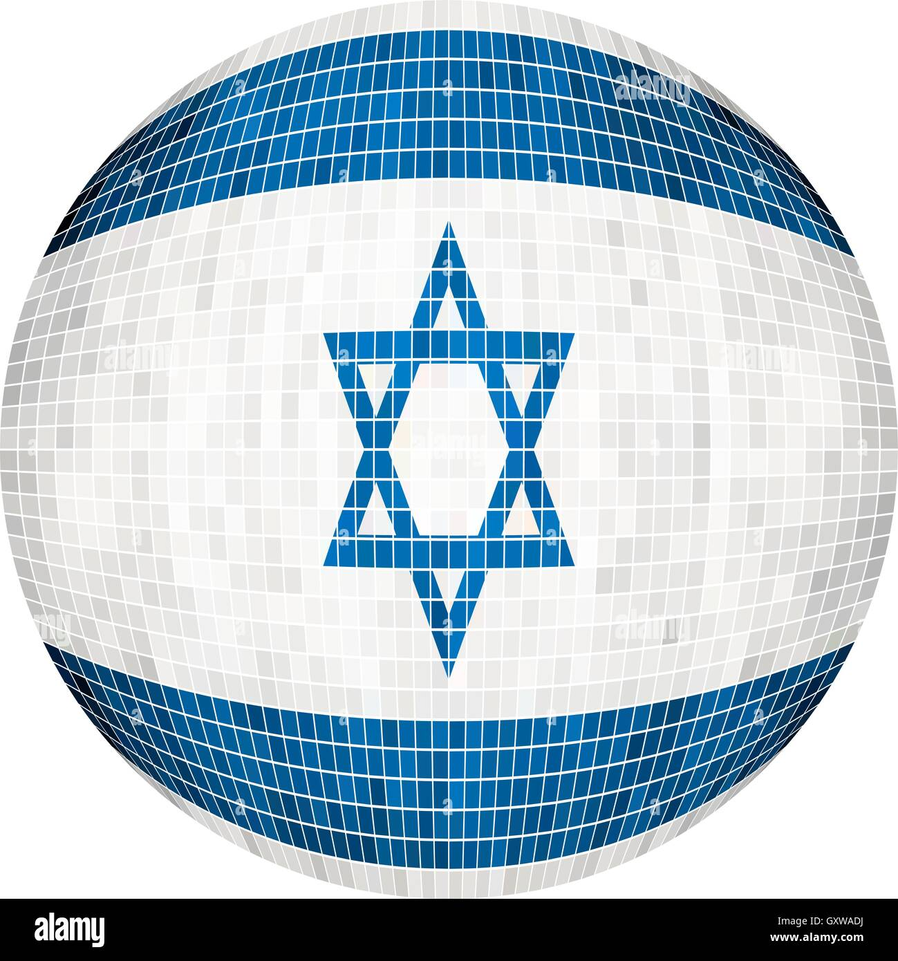 Ball with Israel flag - Illustration,  Sphere Israel Flag vector,   Abstract Grunge Mosaic flag of Israel in circle - Stock Vector