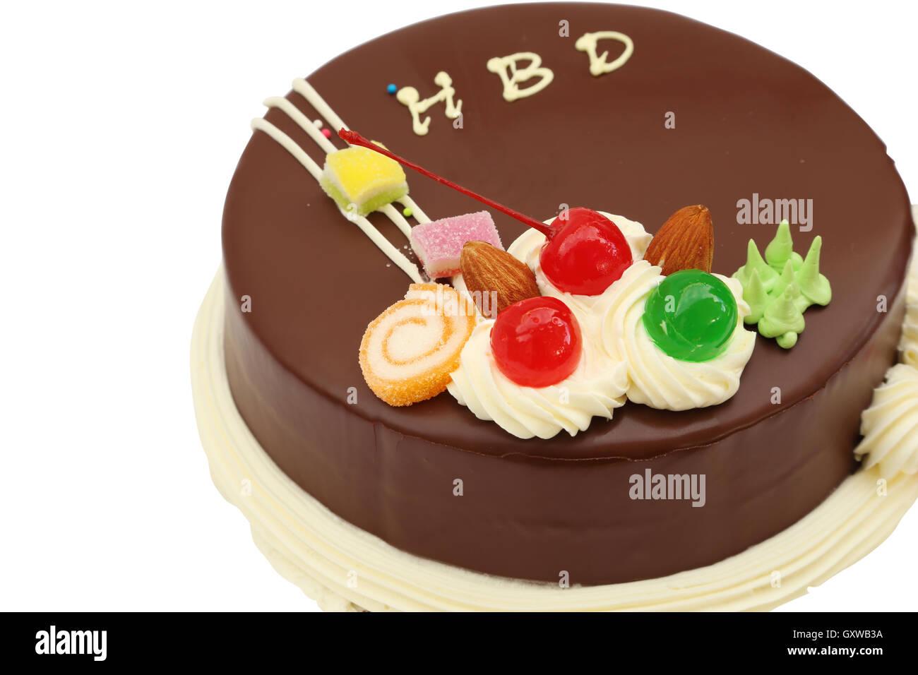 Happy Birthday Chocolate Cake On Stock Photos Happy Birthday