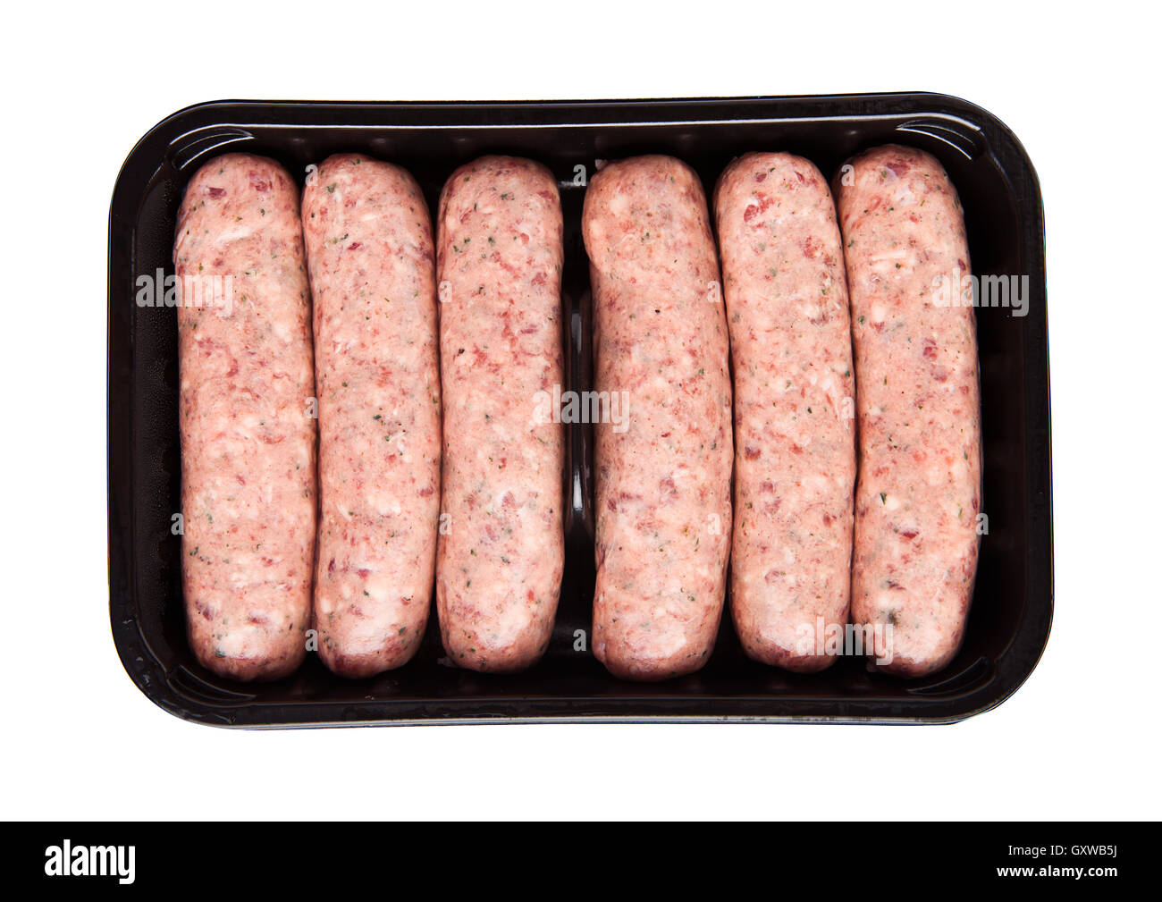 Package of raw beef sausages isolated on white background Stock Photo