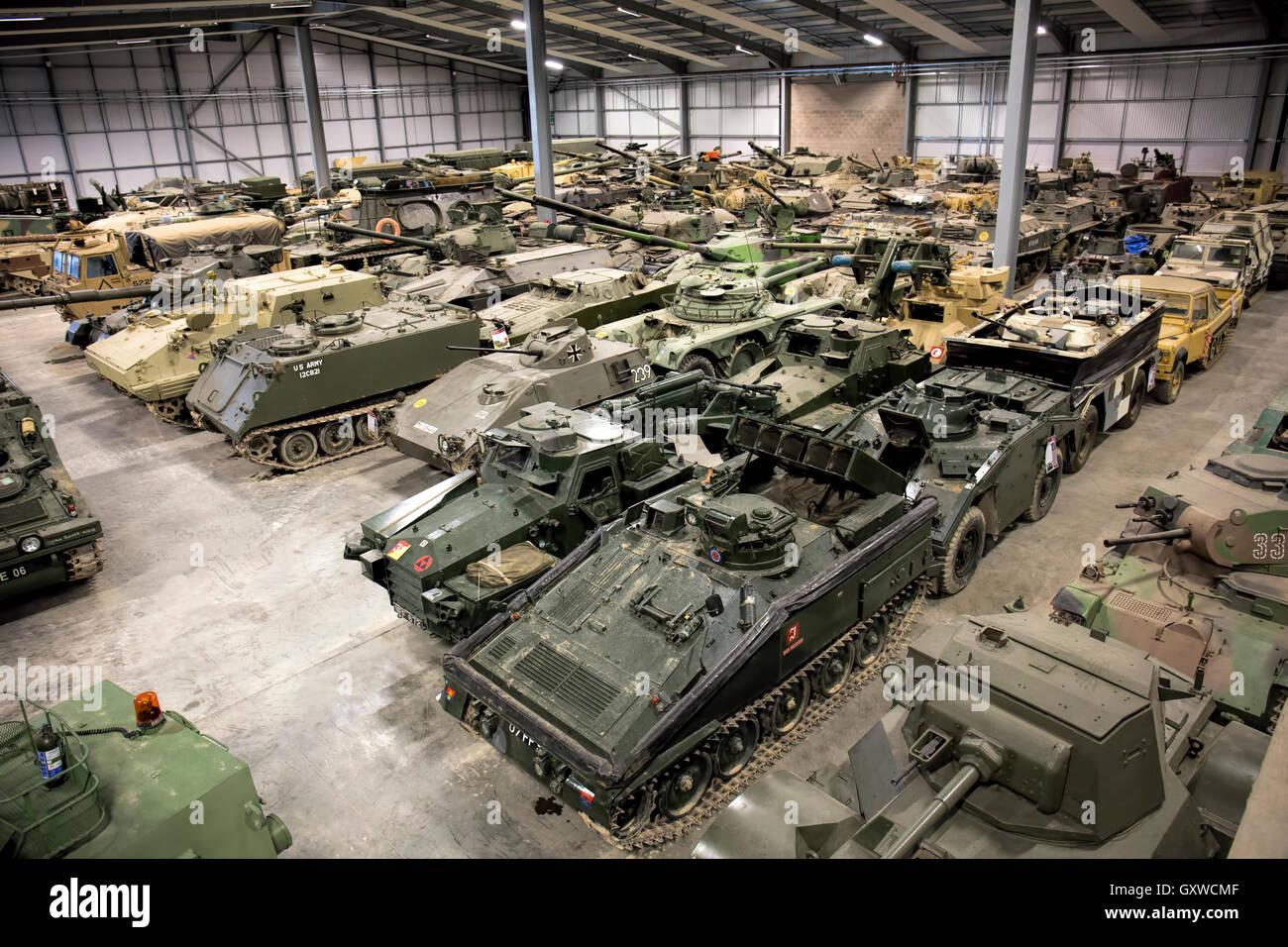 Inside the Vehicle Conservation Centre at The Tank Museum Bovington Wareham UK - Stock Image
