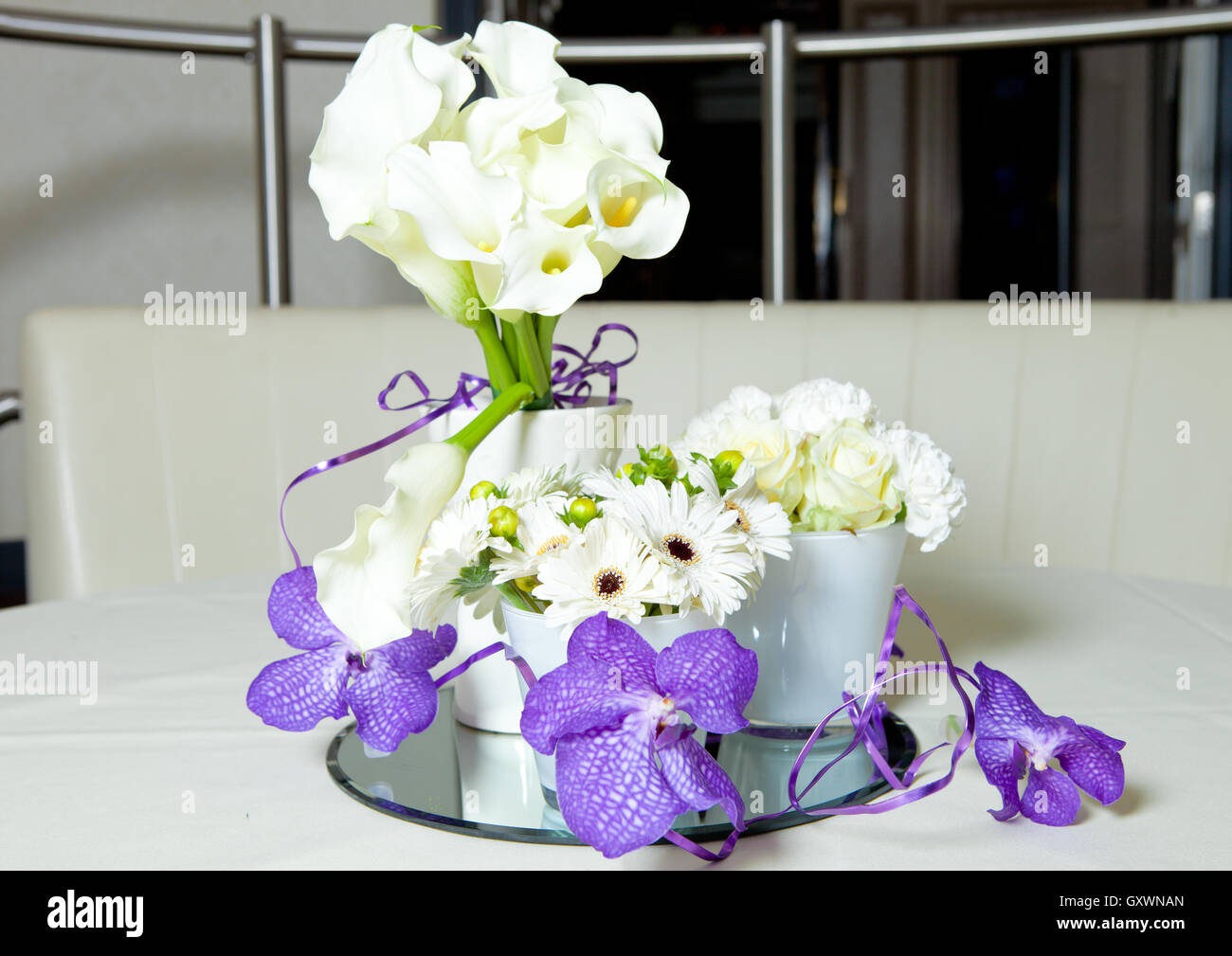 Flowers Bouquet Mix Purple And White On The Table In Restaurant Art