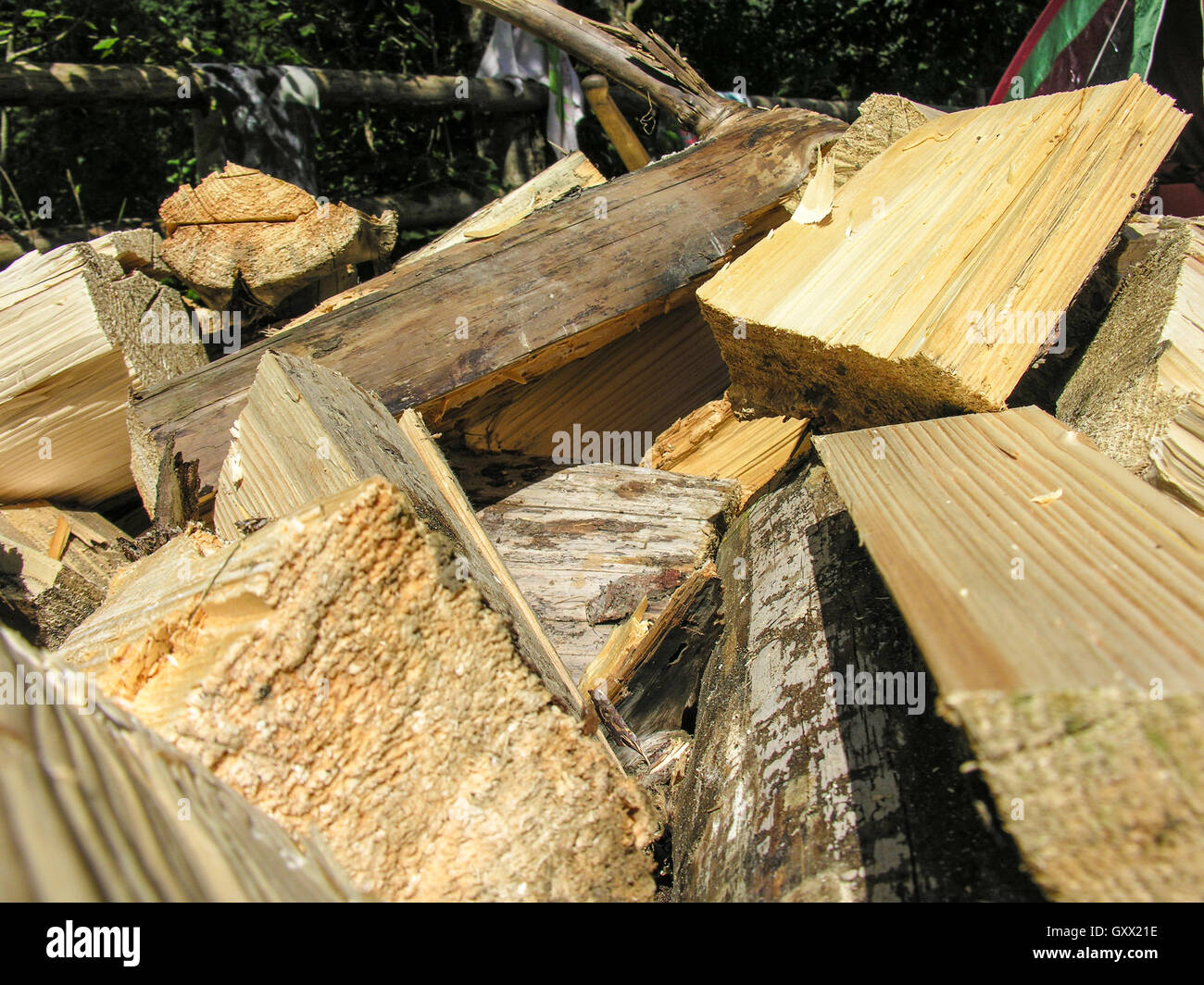 Firewood for the fire are in the mess tent - Stock Image