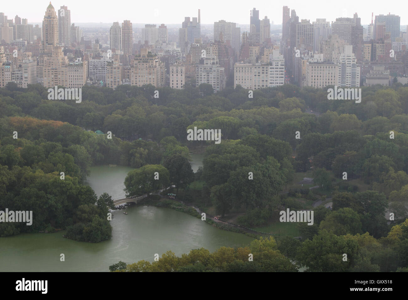 Heavy rain blurs the view of Central Park and Upper East Side. - Stock Image