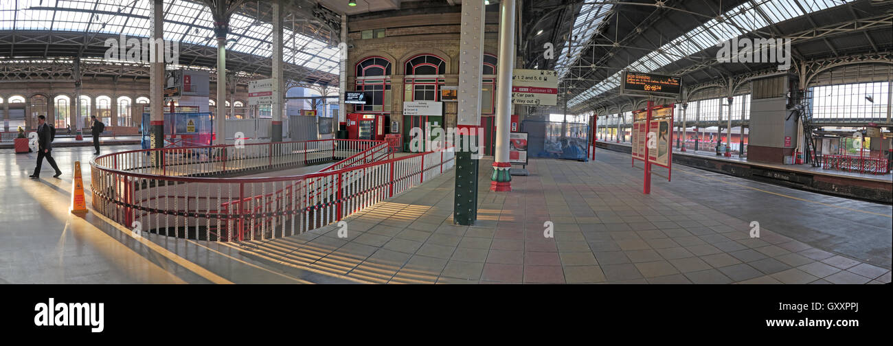 Panorama of Preston Railway Station, WCML, Lancashire, North West England, UK - Stock Image