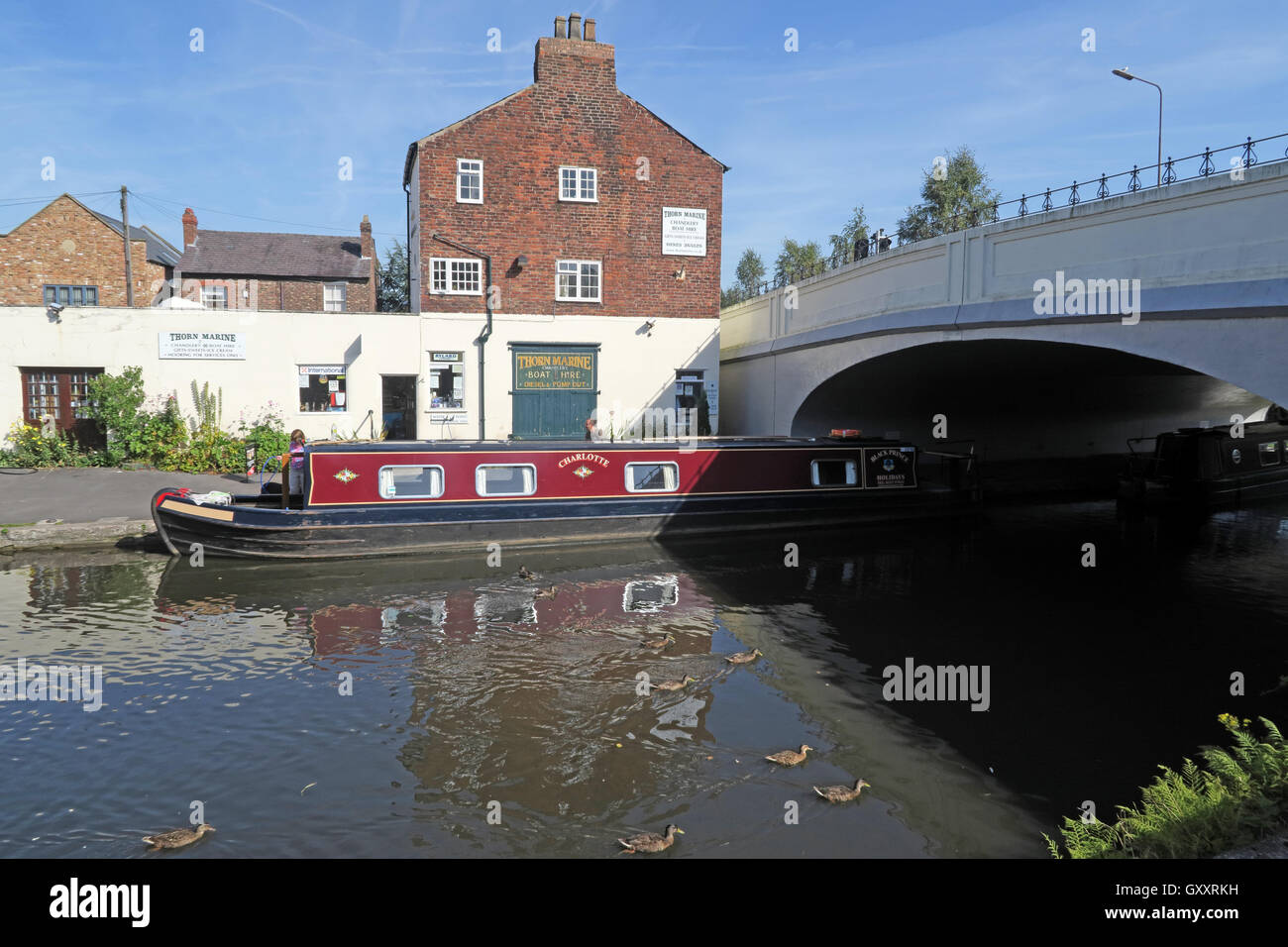 Thorn Marine Boatyard and shop,Stockton Heath,Warrington,England - Stock Image