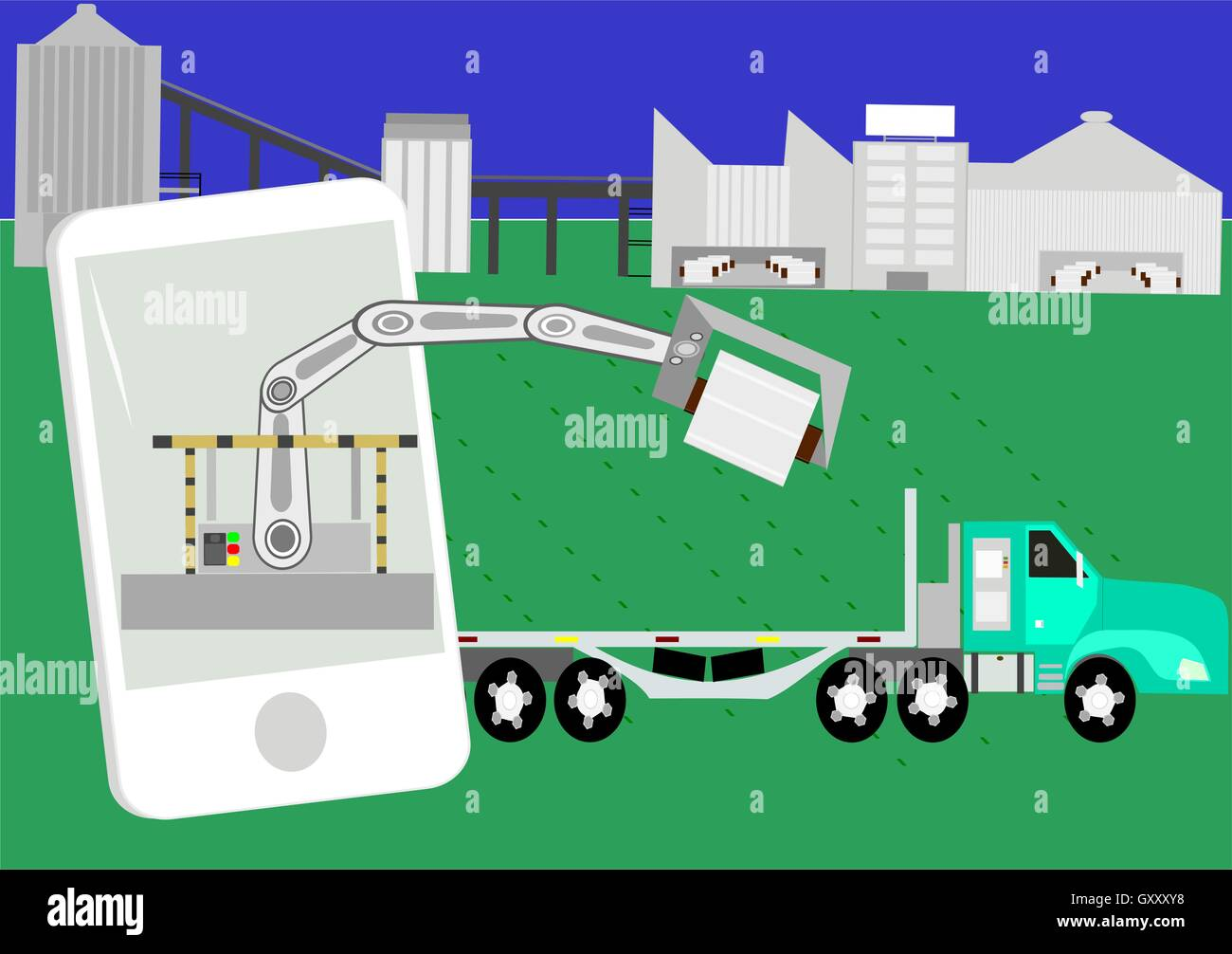 Industries 4.0. Modern industrial plant with automated process to dispatch of products. - Stock Vector