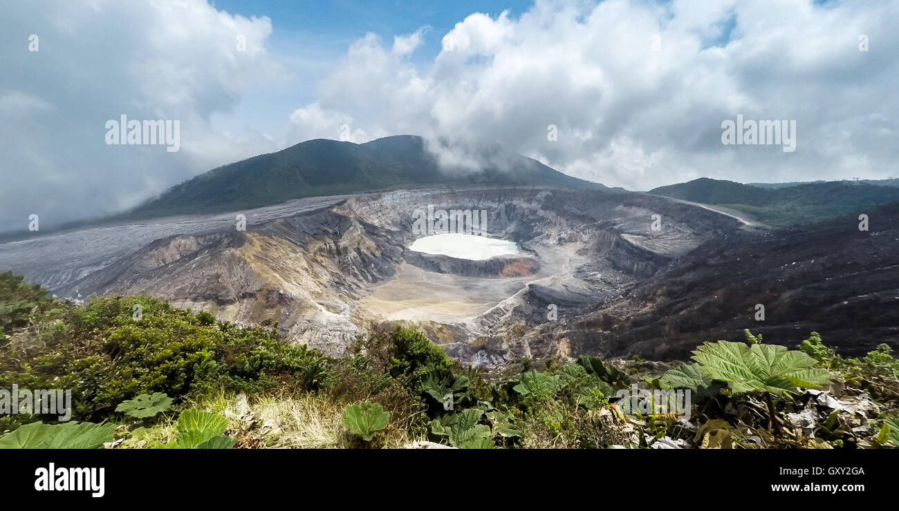 view of the Volcan Poas in Costa Rica with a clear view of the crater and surrounding area - Stock Image