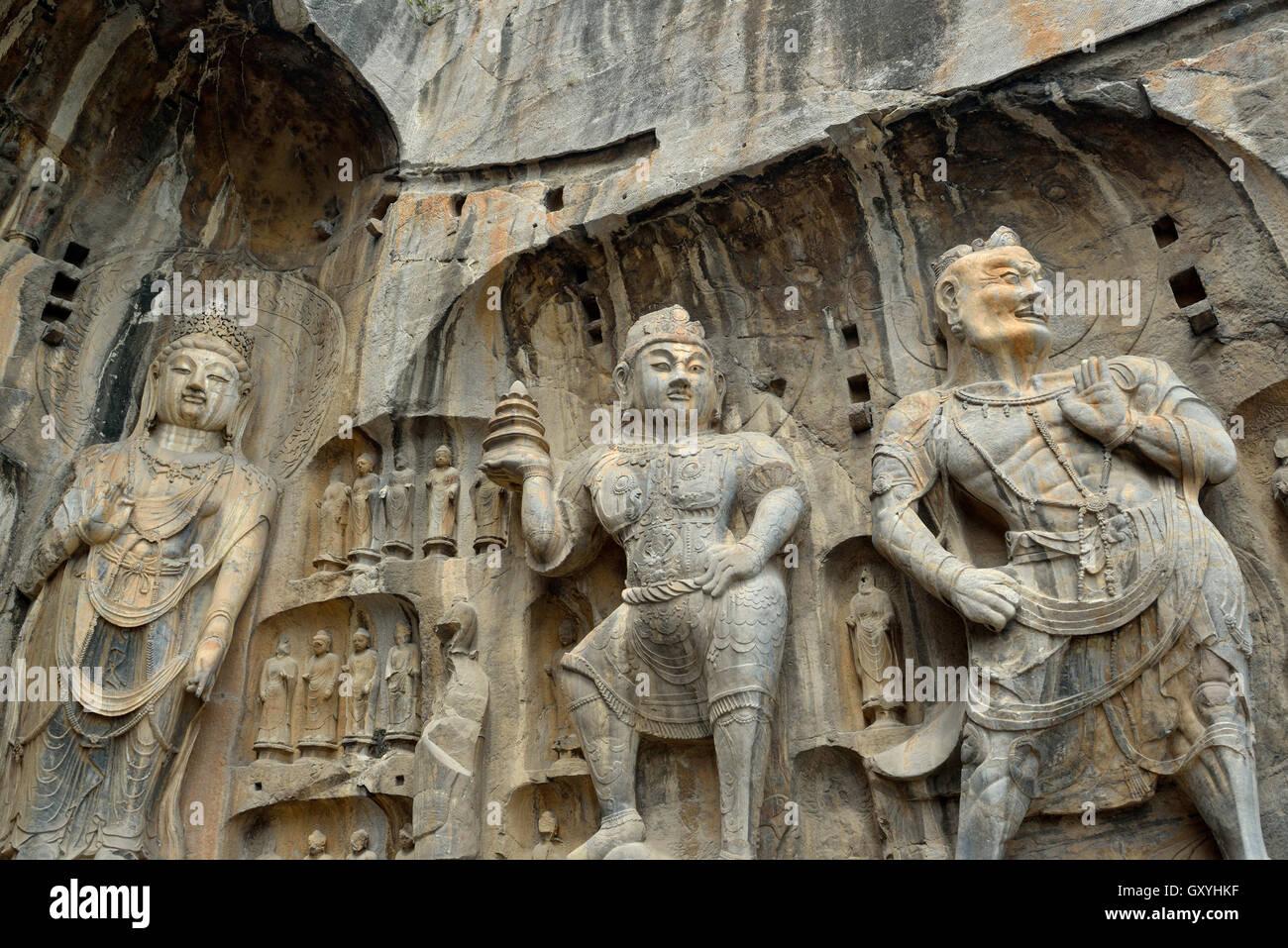 Longmen Grottoes in Luoyang, Henan province, China. 09-Sep-2016 - Stock Image