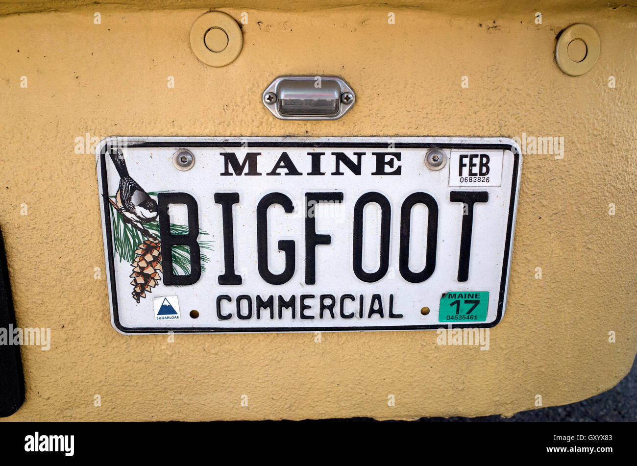 Bigfoot license plate on the The L.L. Bean Bootmobile displayed at Grand Old Day Festivities. St Paul Minnesota - Stock Image
