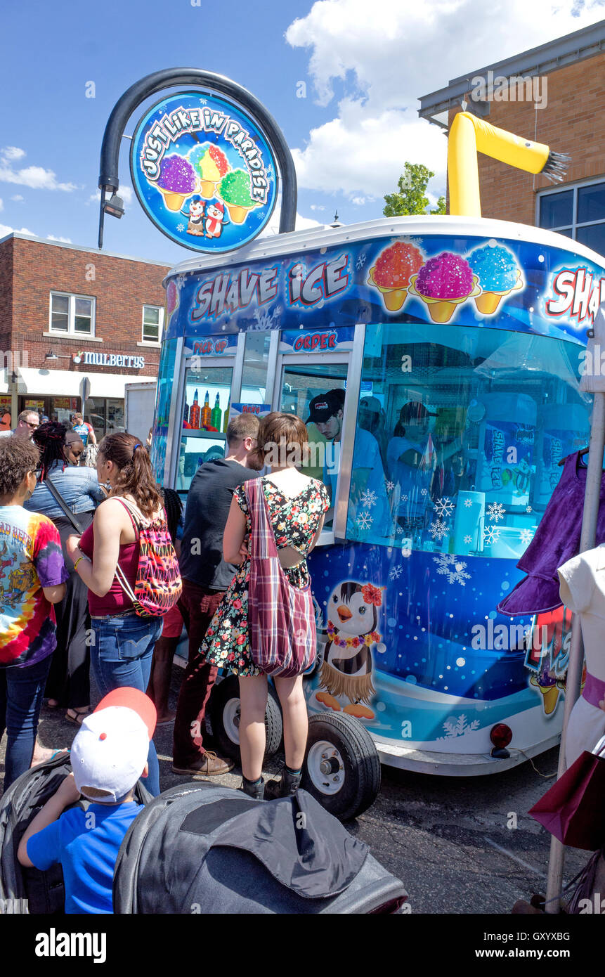 Glitzy mobile trailer selling shave ice cones at Grand Old Day festivities St Paul Minnesota MN USA - Stock Image