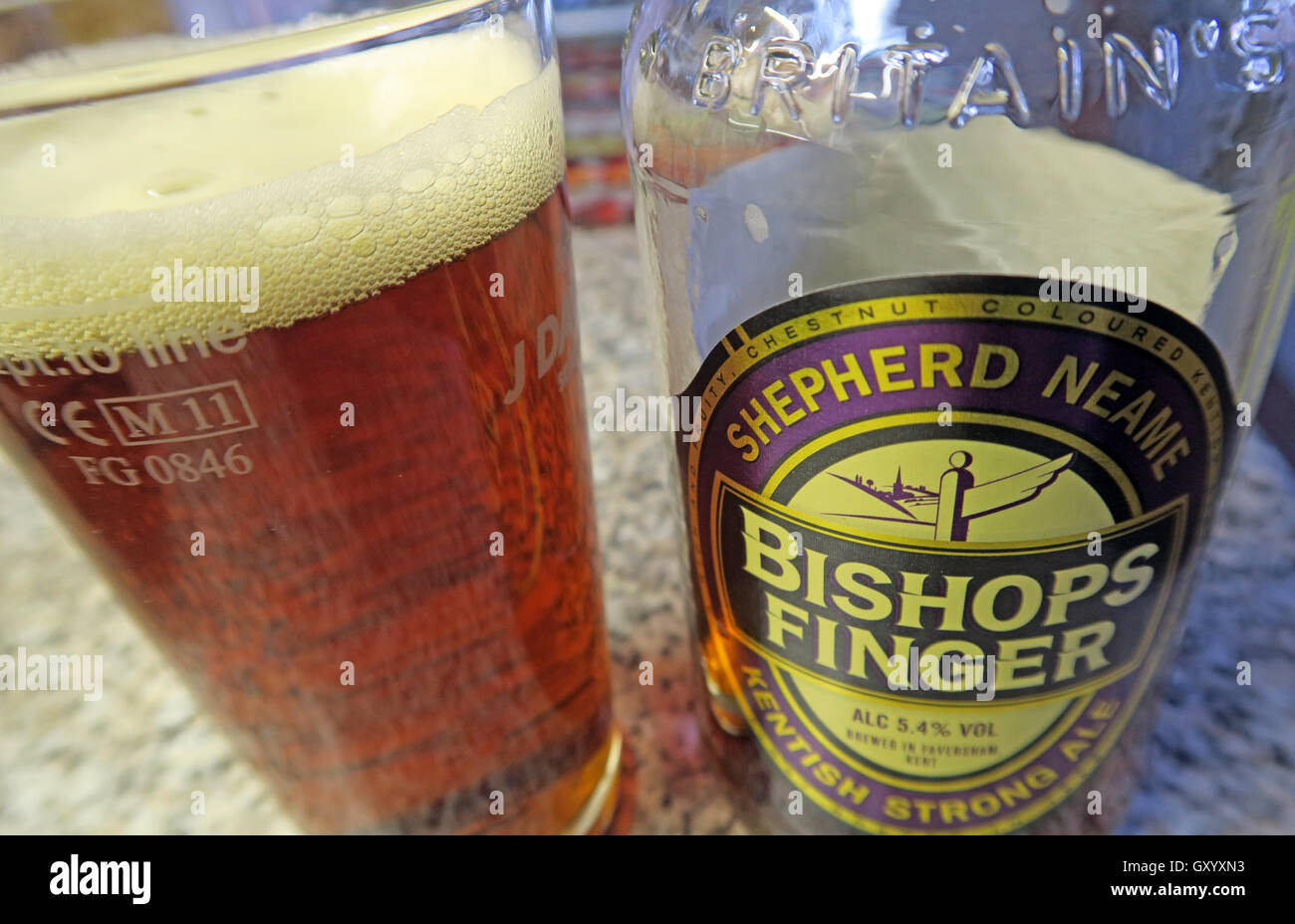 Glass of Bishops Finger Ale Stock Photo