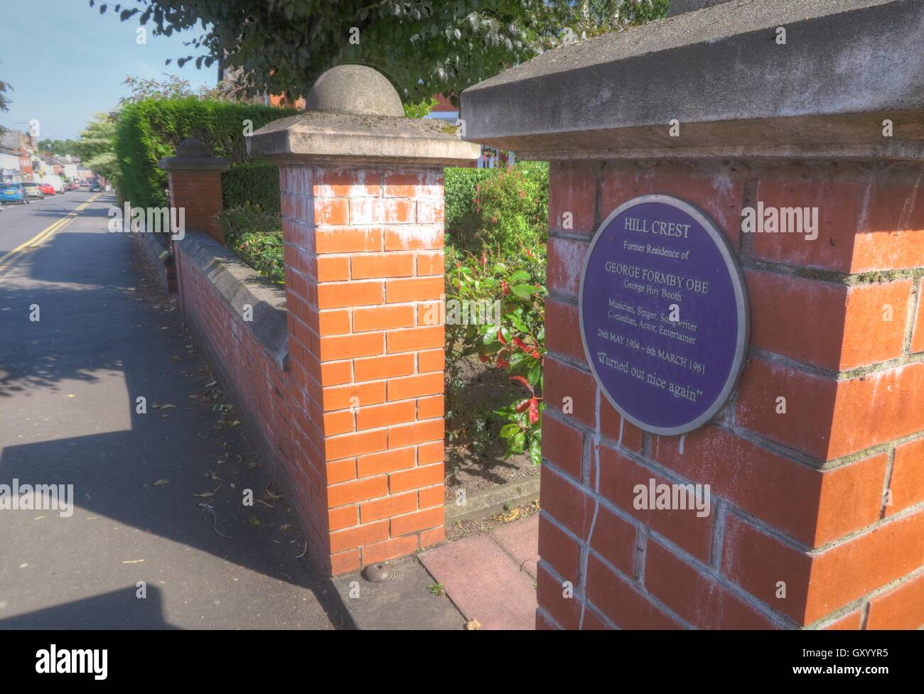 Hill Crest,Residence of George Formby OBE, Stockton Heath,Warrington,Cheshire,England - Stock Image
