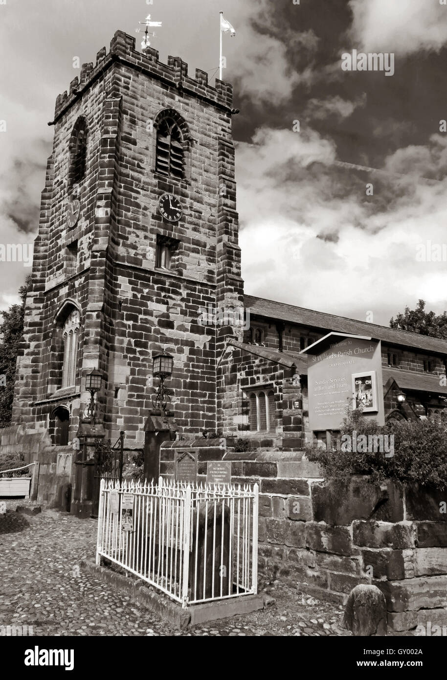 Exterior of St Wilfrids church tower,Grappenhall,Warrington,Cheshire England UK B/W - Stock Image