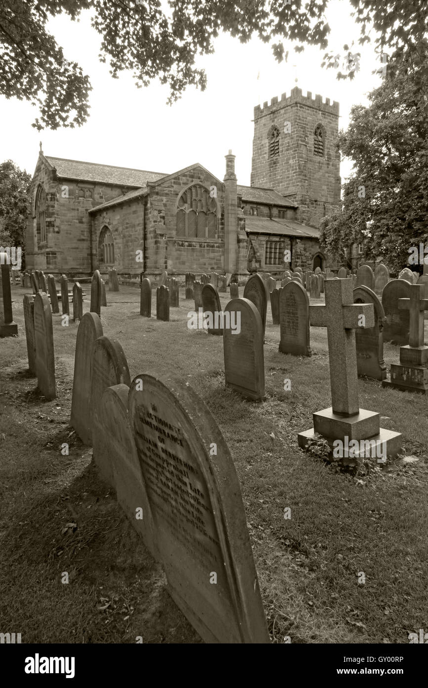 Exterior of St Wilfrids church,Grappenhall,Warrington,Cheshire England UK B/W - Stock Image