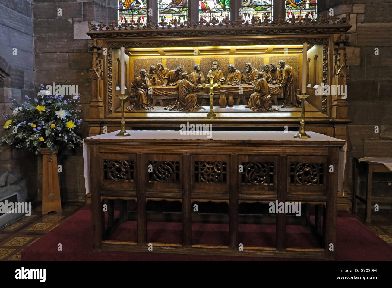 St Wilfrids Church Grappenhall- Last Supper Altar reredos, Warrington Cheshire Stock Photo