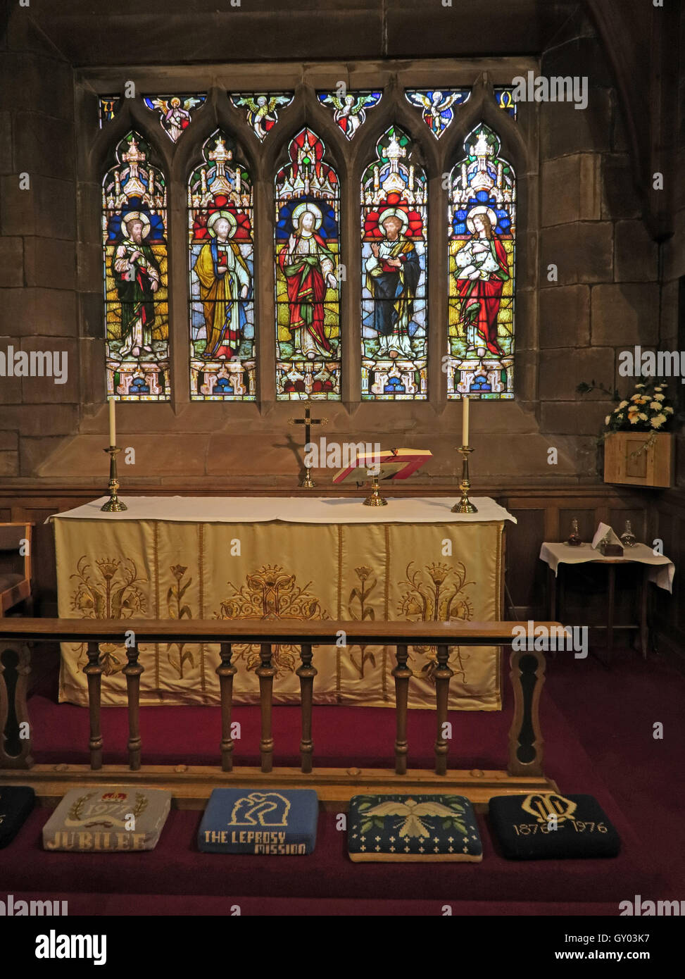 St Wilfrids Church Grappenhall- Lady Chapel Altar,Warrington - Stock Image