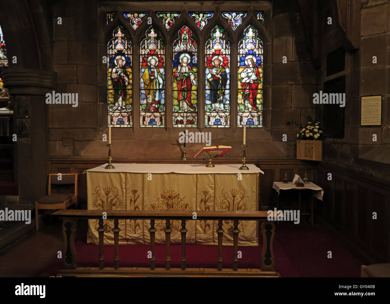 St Wilfrids Church Grappenhall- Lady Chapel Altar, Warrington,cheshire, UK - Stock Image