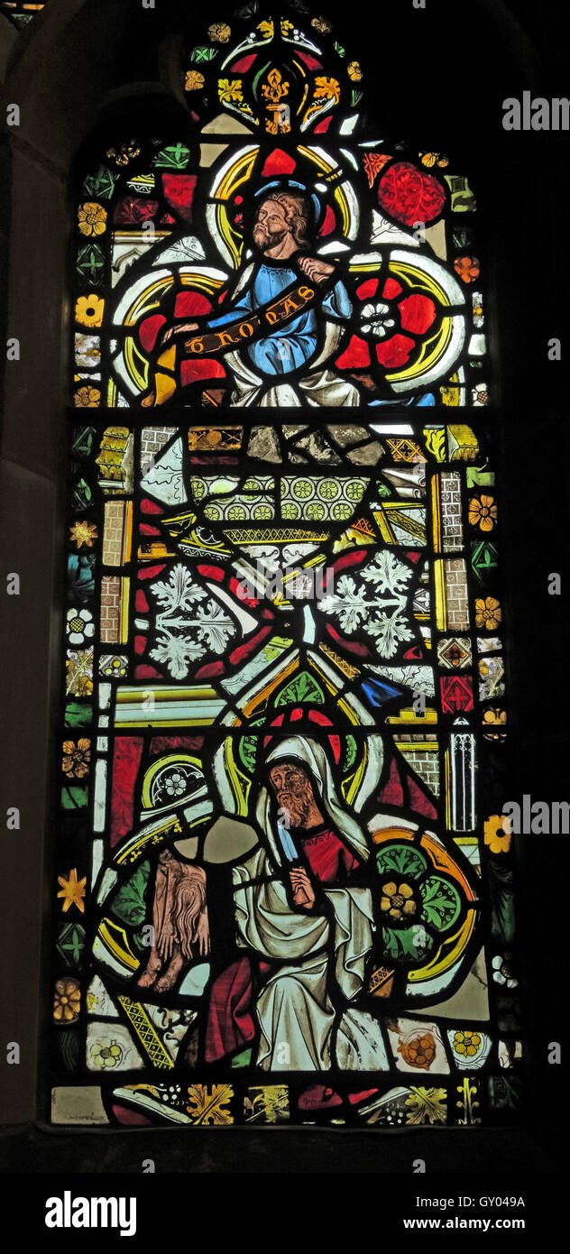 St Wilfrids Church Grappenhall-  West Window stained glass Detail, Warrington Stock Photo