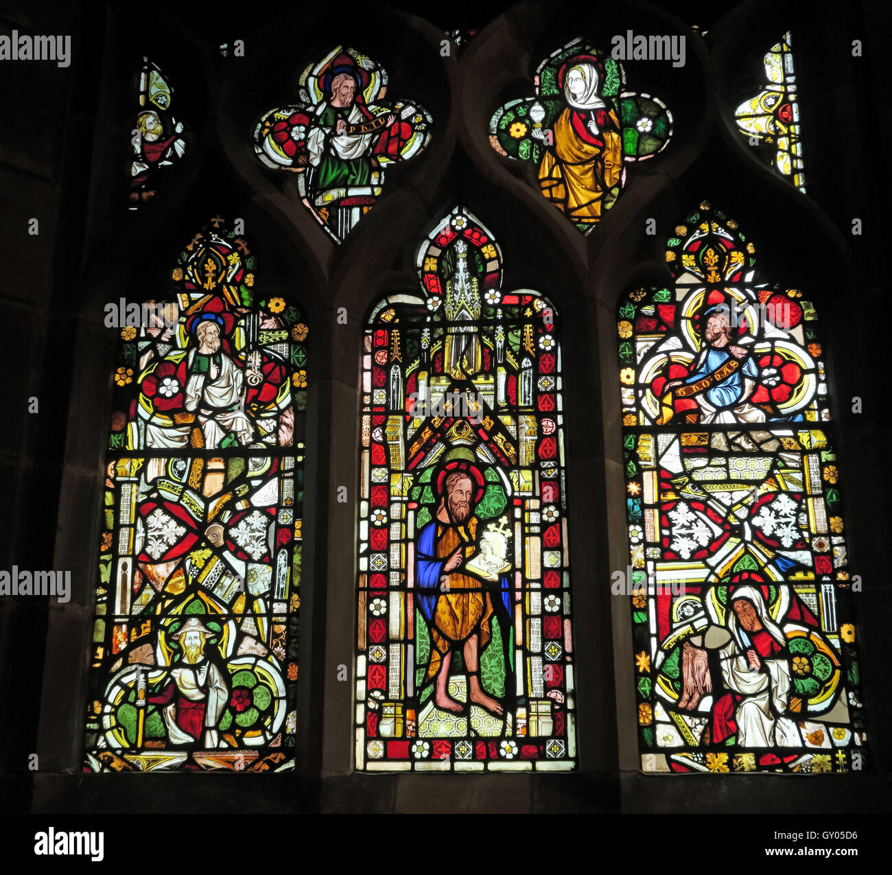 St Wilfrids Church Grappenhall- Original Stained Glass West Window, Warrington Stock Photo