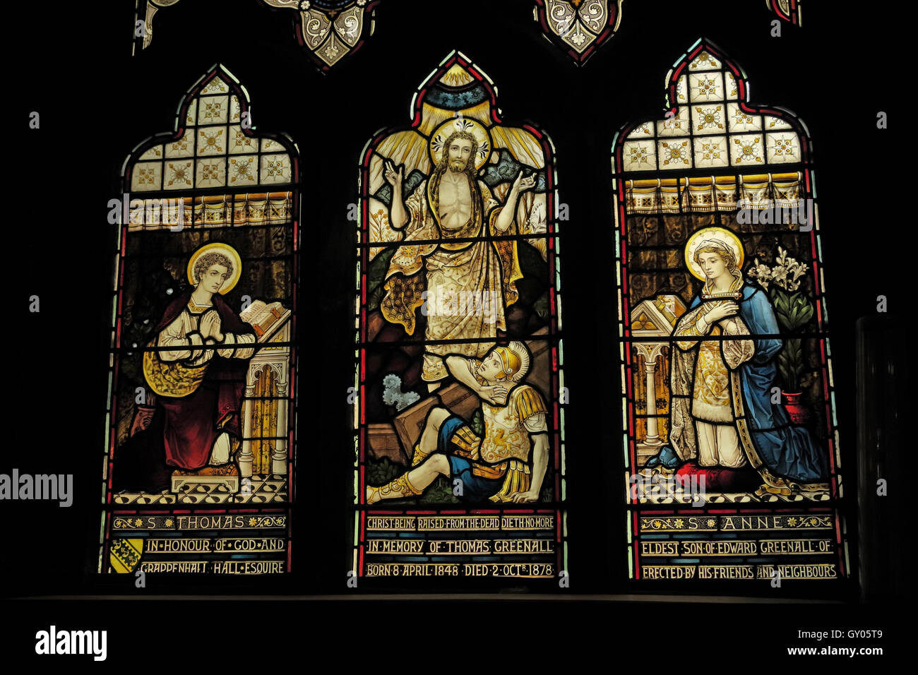 St Wilfrids Church Grappenhall- Thomas Anne Greenall stained glass Window Warrington - Stock Image