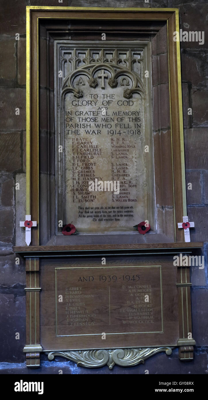 St Wilfrids Church Grappenhall- 1914-18 fallen,to glory of God, Warrington Stock Photo