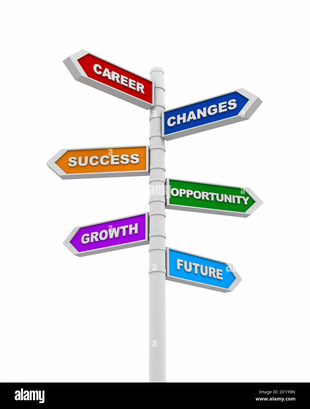 business changes directional sign concept  3d illustration - Stock Image