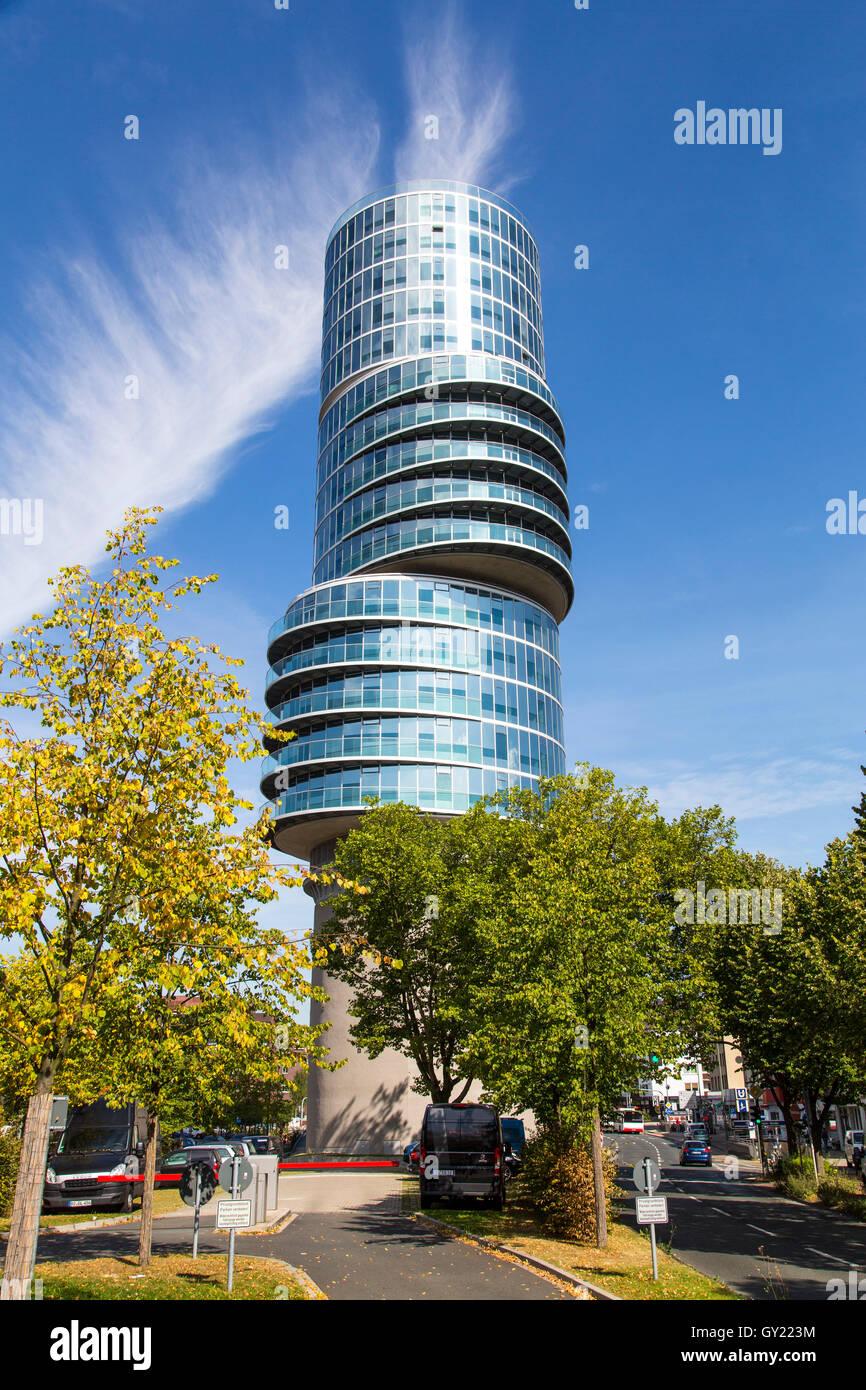 The Exzenterhaus house, in Bochum, modern office skyscraper on the University street, 15 floors above a former bomb - Stock Image