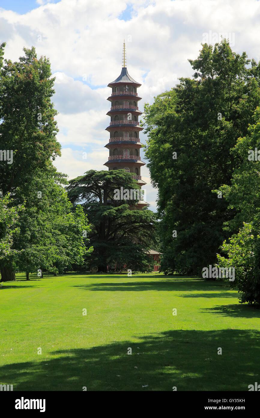 The Pagoda Japansese Tower, Royal Botanic Gardens, Kew, London, England, UK - Stock Image