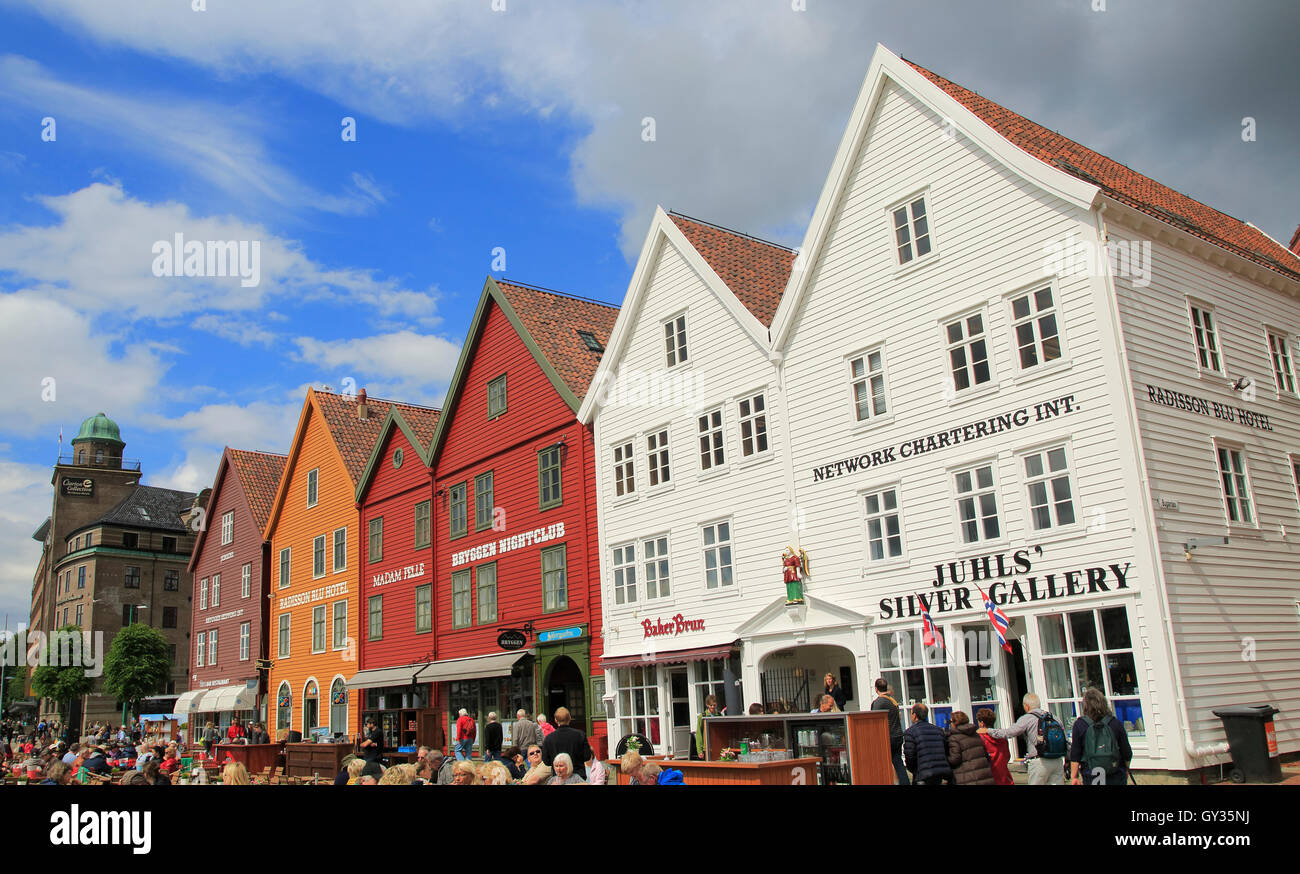 Historic Hanseatic League wooden buildings Bryggen area, Bergen, Norway UNESCO World Cultural Heritage site Stock Photo