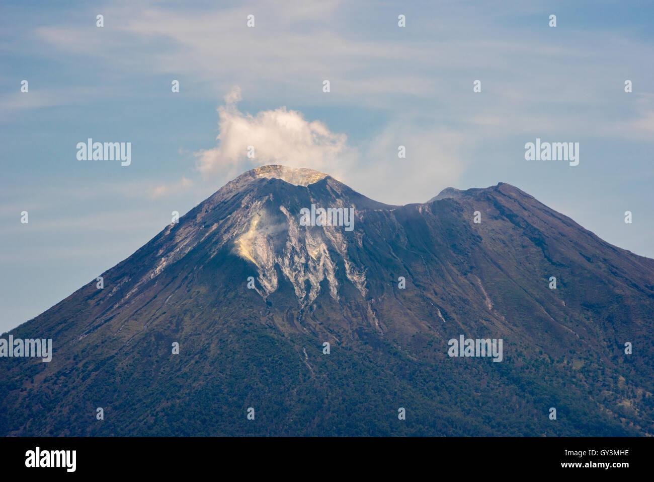 Mount Lewotolok volcano in Lembata Island, East Nusa Tenggara, Indonesia. - Stock Image