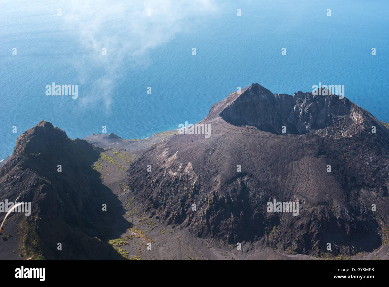 The caldera of Ile Werung volcano in Lembata Island, East Nusa Tenggara, Indonesia. - Stock Image