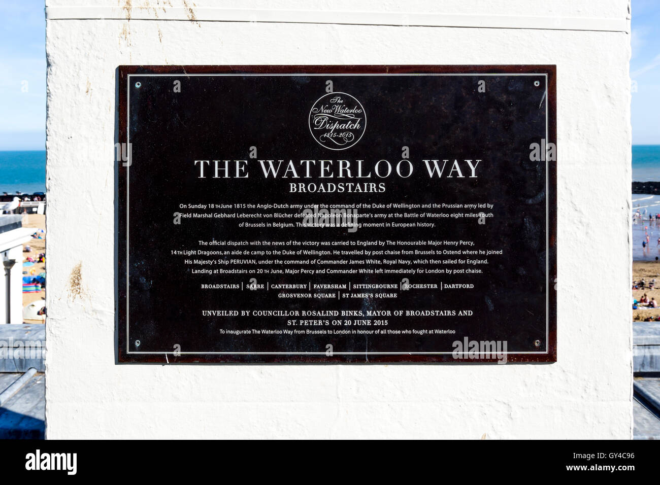 A plaque at Broadstairs commemorates the arrival of the first news of the Battle of Waterloo. - Stock Image