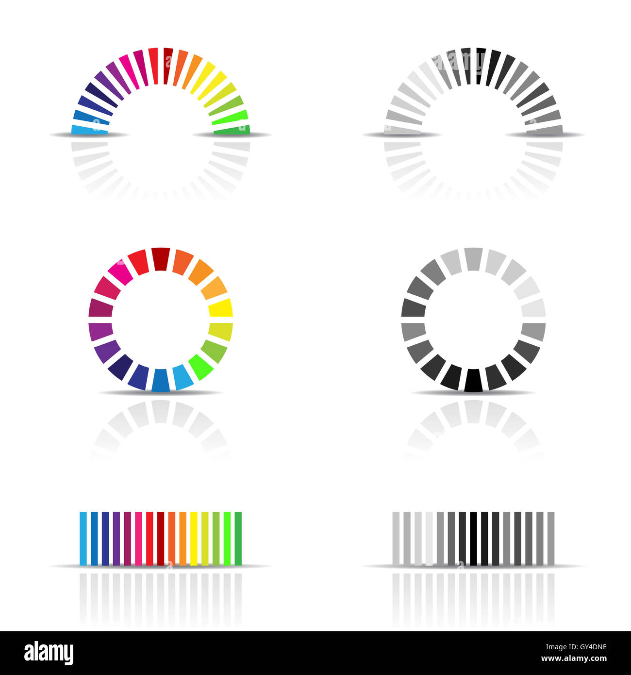 vector illustration of colour profile samples, cmyk, rgb - Stock Image
