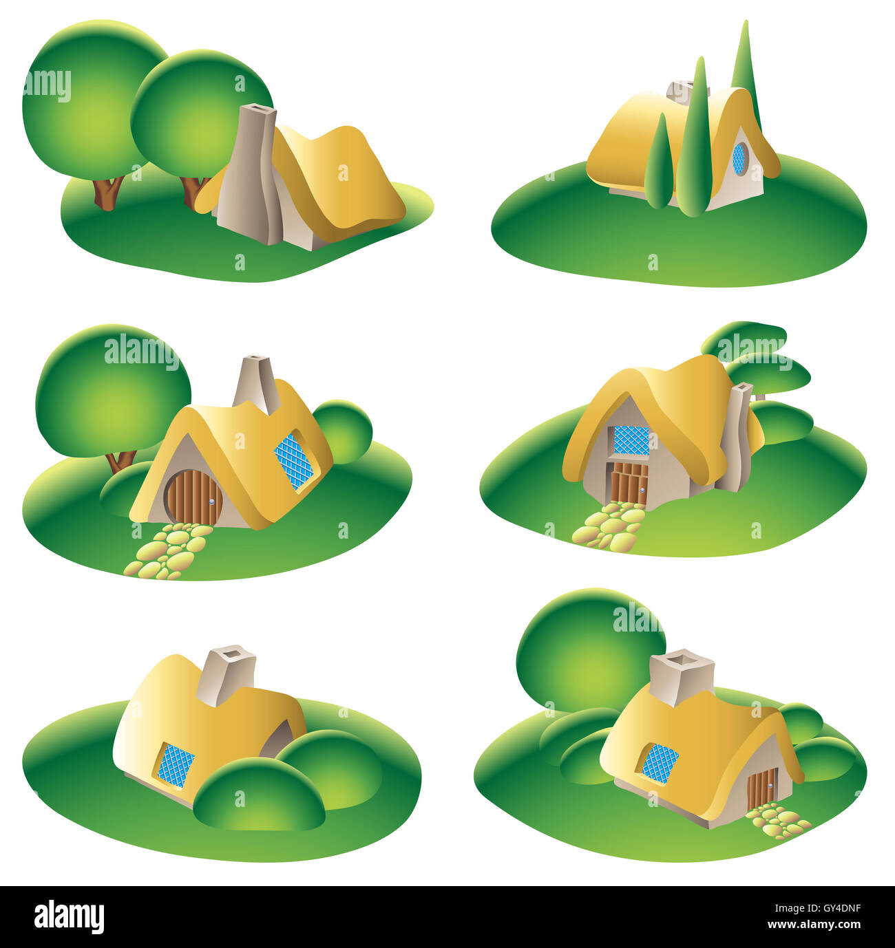 set of fantasy country houses isolated on white - Stock Image