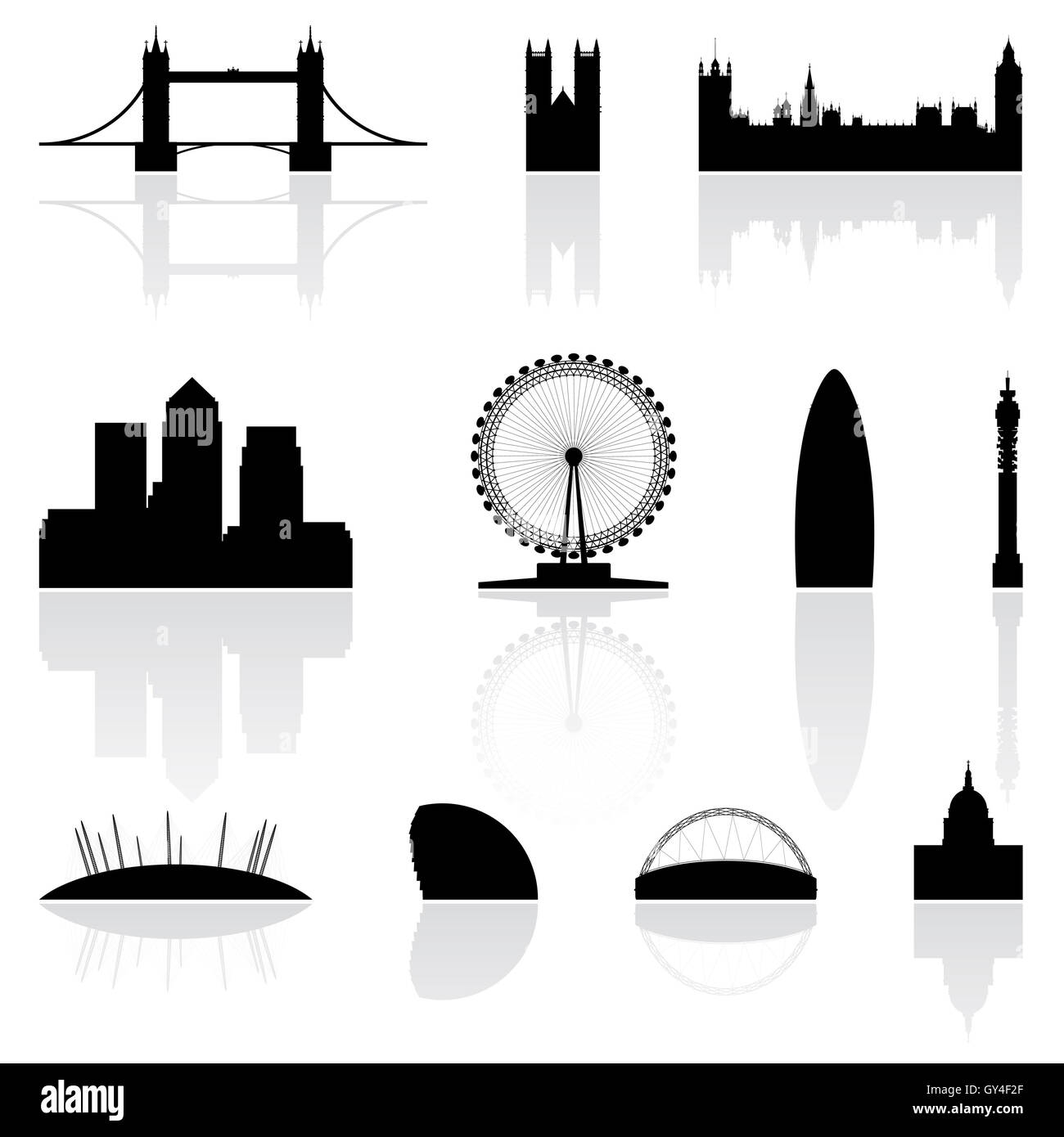 London famous landmarks isolated on a white background - Stock Image