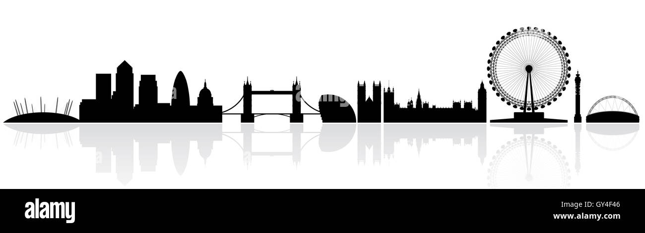 London skyline silhouette isolated on a white background with reflections - Stock Image